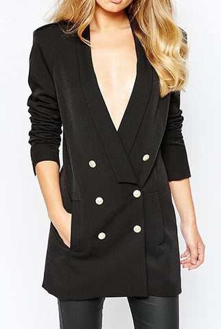 GLORIA Longline Double-breasted Buttoned Blazer - Mademoiselle Veste - 1