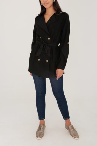 IMANI Black Lightweight Belted Jacket
