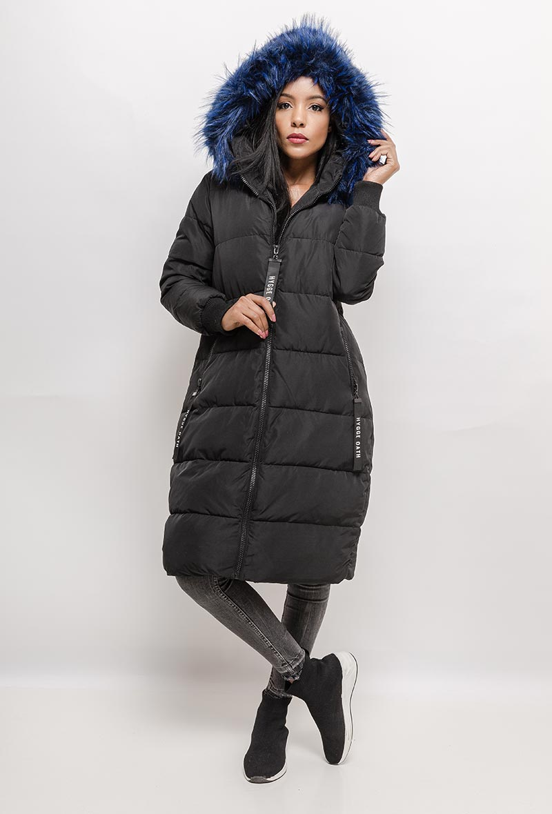 JESSY Long Quilted Black Coat