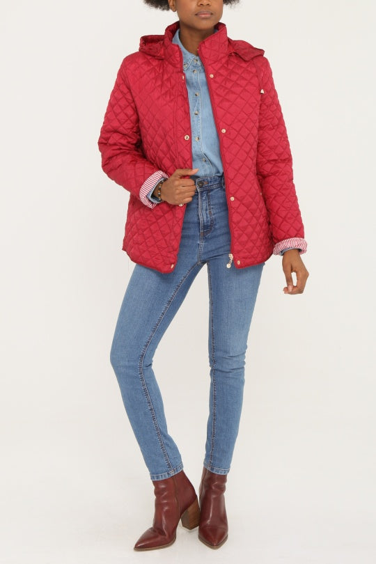 KYLA Red Quilted Button-Front Coat with Hood