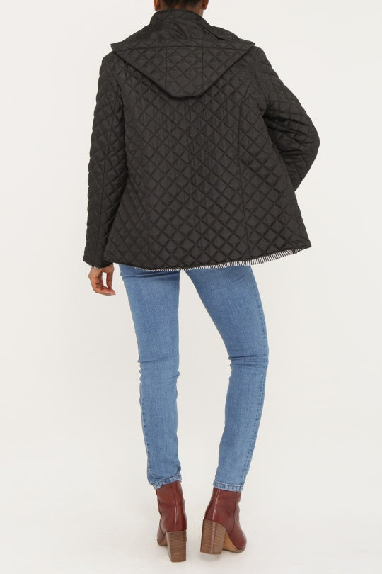 KYLA Black Quilted Button-Front Coat with Hood