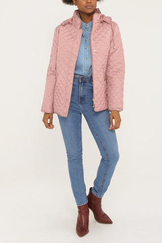 KYLA Pink Quilted Button-Front Coat with Hood