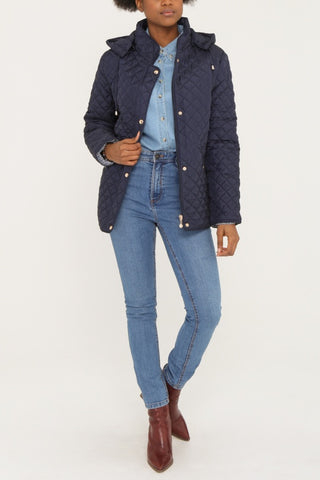 KYLA Navy Quilted Button-Front Coat with Hood