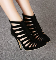 LIYA Black Caged Sandals