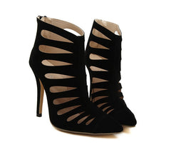 LIYA Black Caged Sandals - Mademoiselle Veste - 2