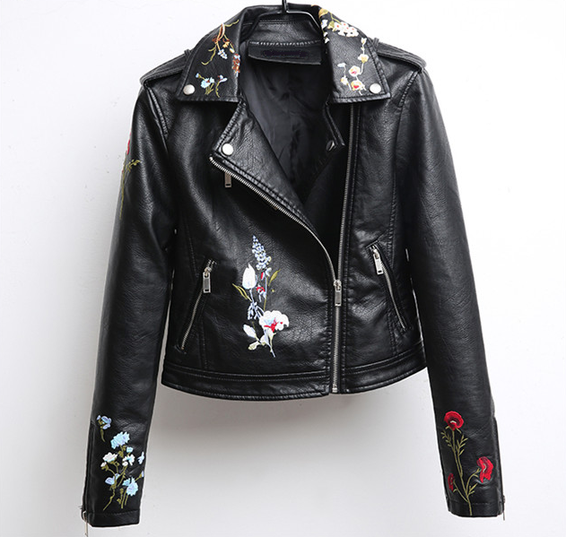 LYNN Floral Embroidered Faux Leather Moto Jacket - 5 colors available