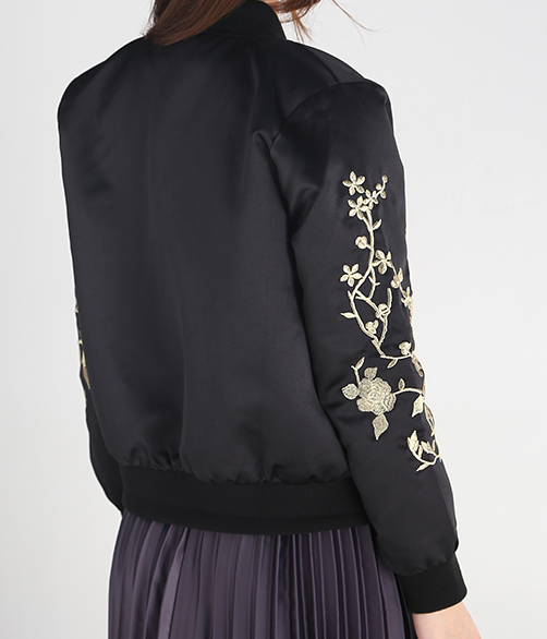 NAHIA Gold Floral Embroidery Bomber Jacket
