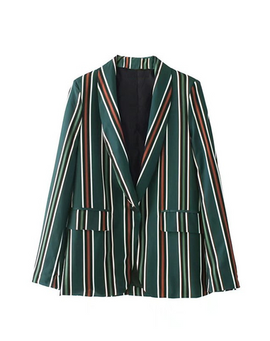 PAOLA Green & Orange Striped Blazer