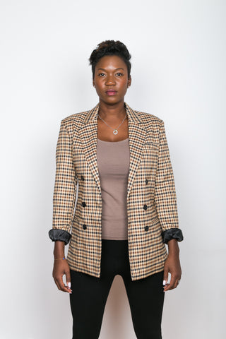 ERIKA Double-Breasted Check Blazer