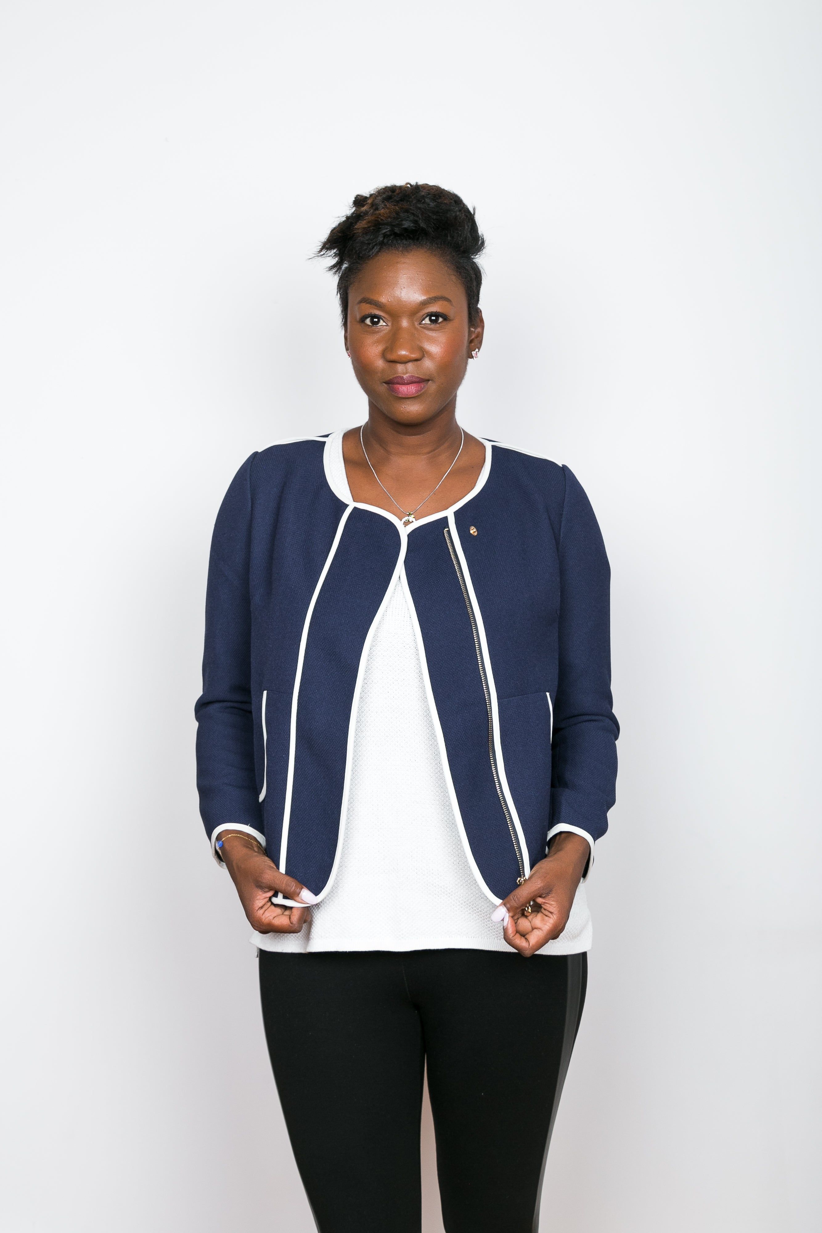 NANCY Navy & White Trim Jacket