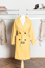 SOLENE Yellow Belted Trench Coat