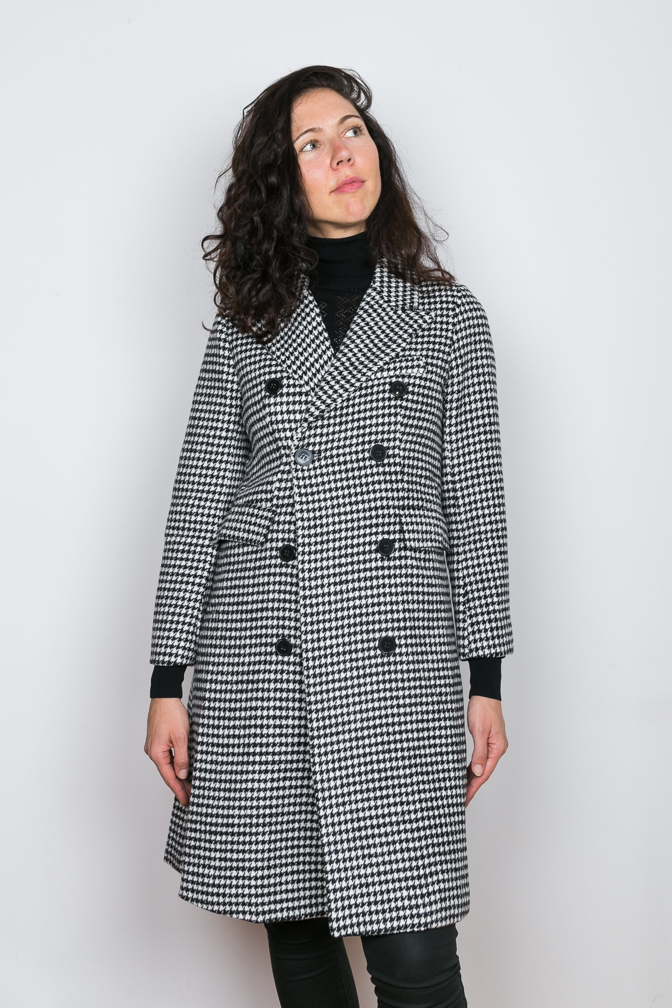 NOOR Wool Houndstooth Coat