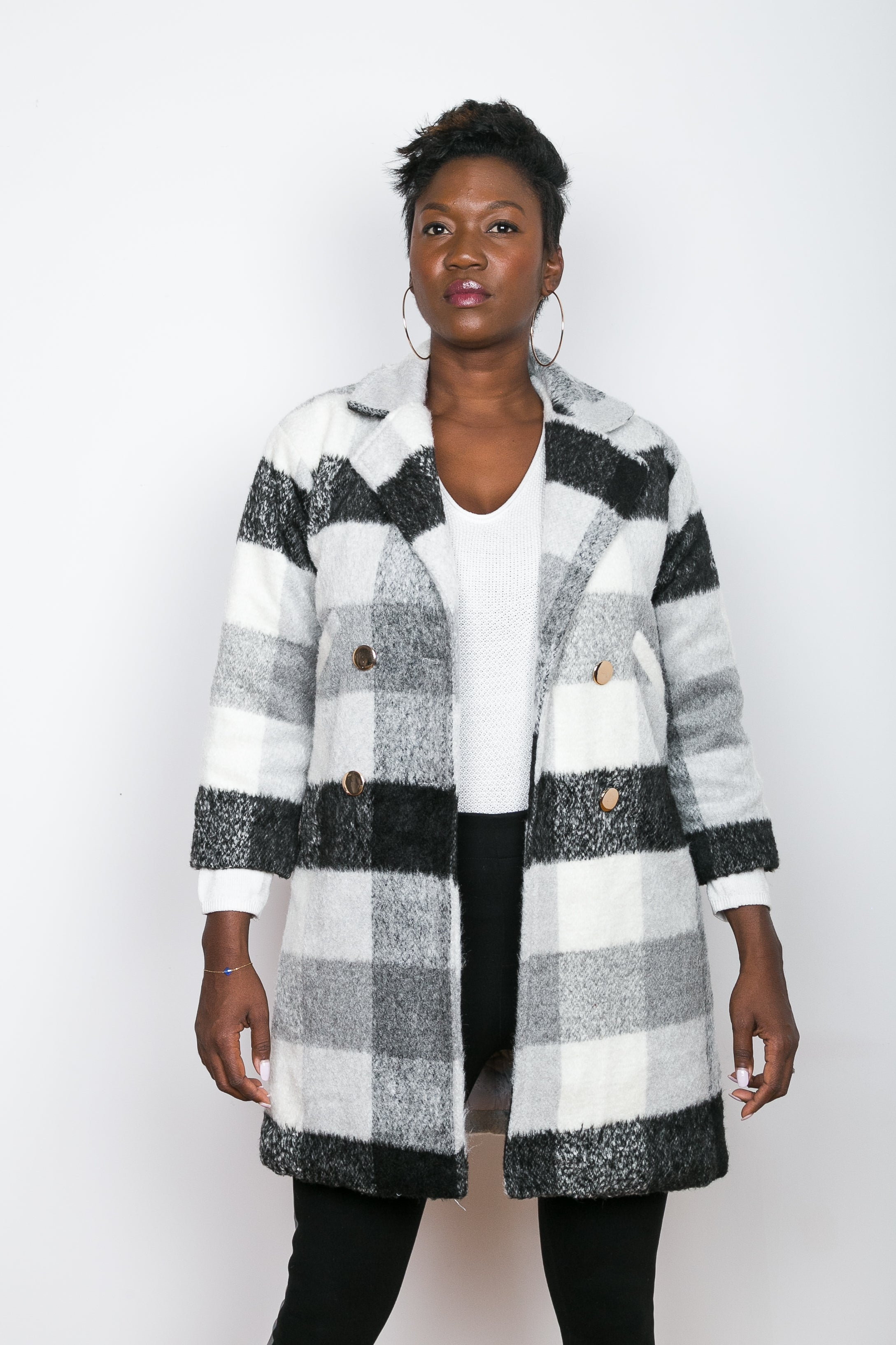 BRUNA Black & White Plaid Wool Blend Coat