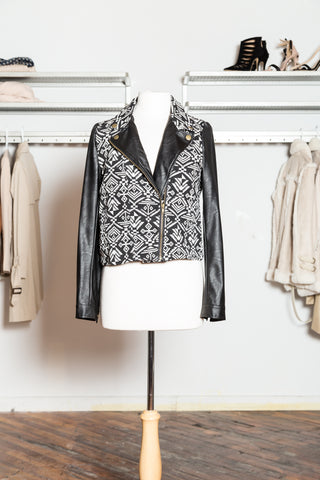 OPHELIE Geo Print Faux Leather Jacket