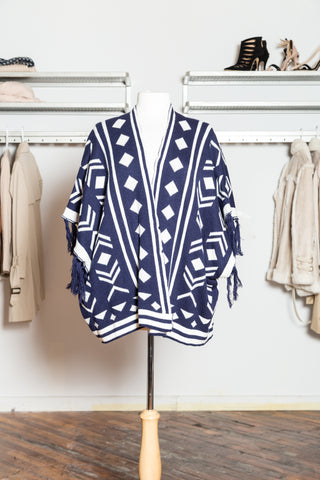 POPPY Navy Fringed Poncho Cardigan