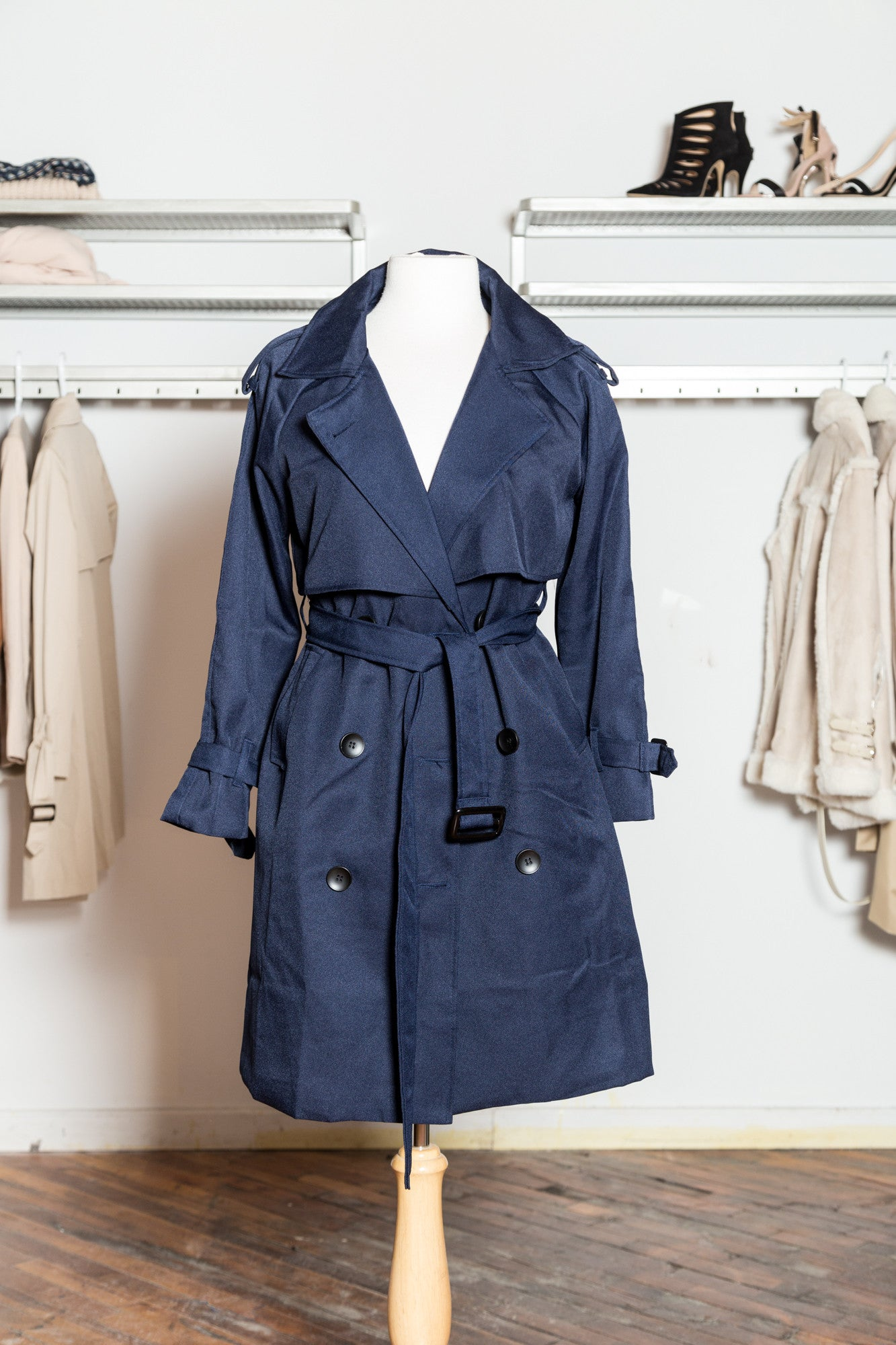 EVELYN Navy Belted Trench Coat
