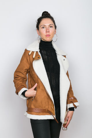 CARA Camel Faux Shearling Coat