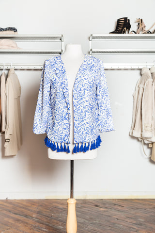 AVA Blue Fringed Cardigan