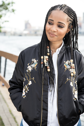 FIONA Satin Embroidered Bomber Jacket