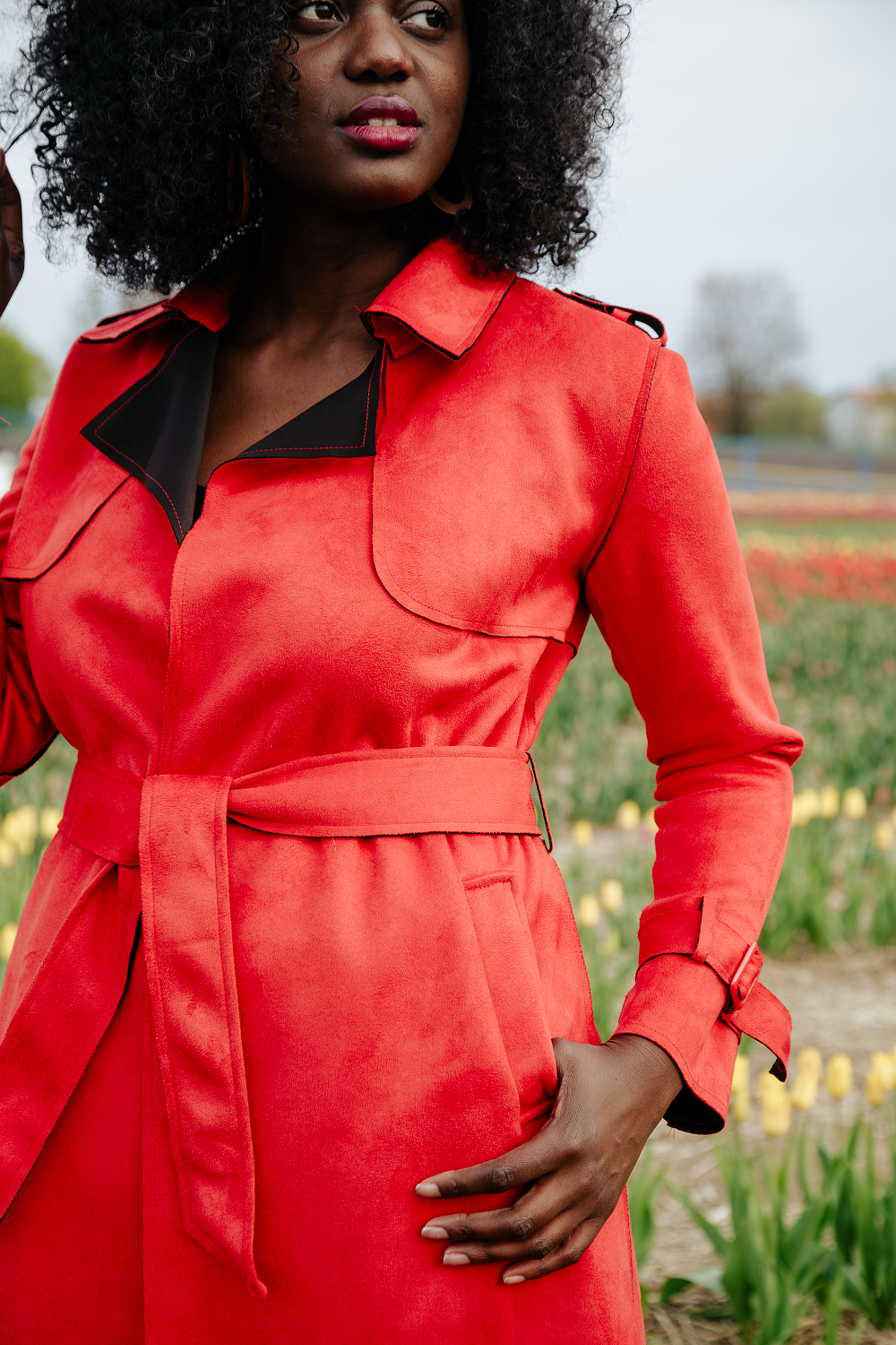 CHLOE Red Suede Trench Coat