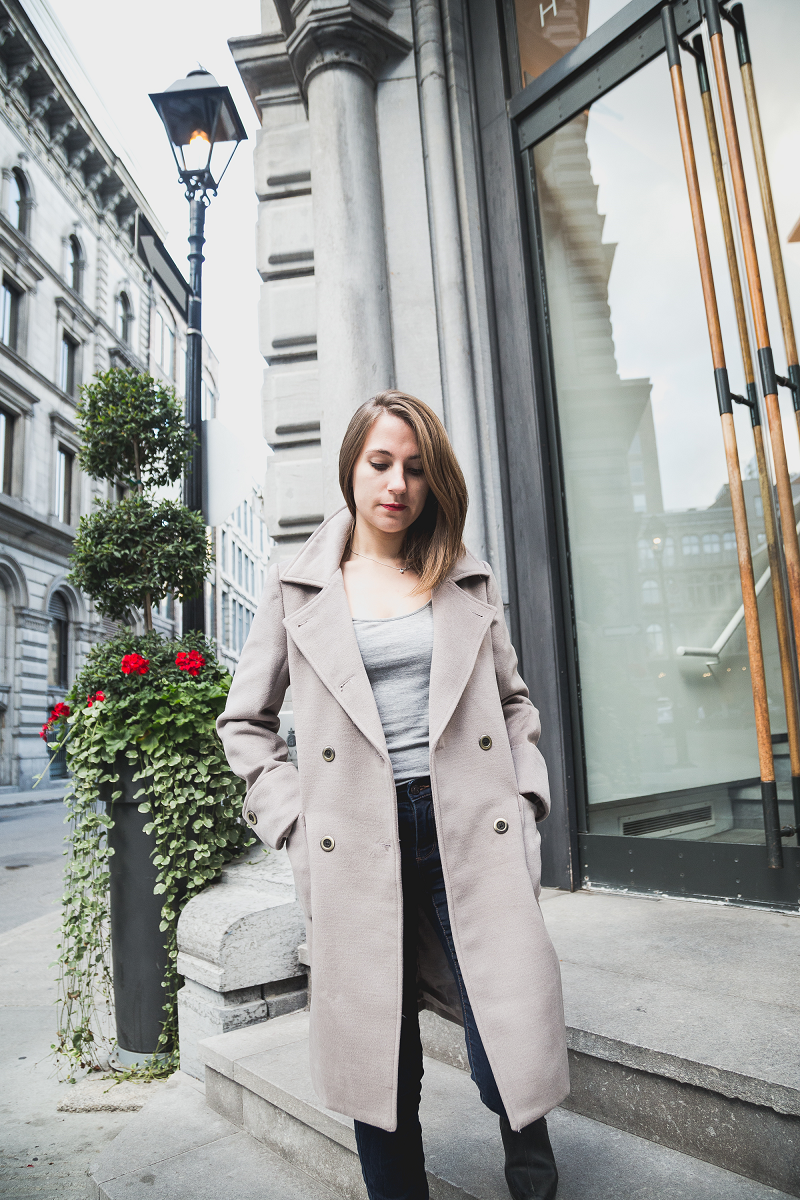 NICOLE Brownish Grey Wool Coat