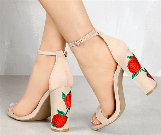 SANDRA Embroidered Ankle Strap Sandals