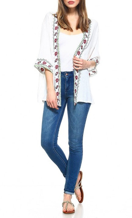 YARA Floral Embroidered Cardigan - 2 colors available