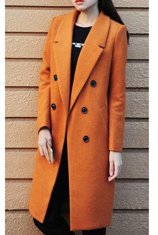 EMMA Orange Long Double Breasted Wool Coat