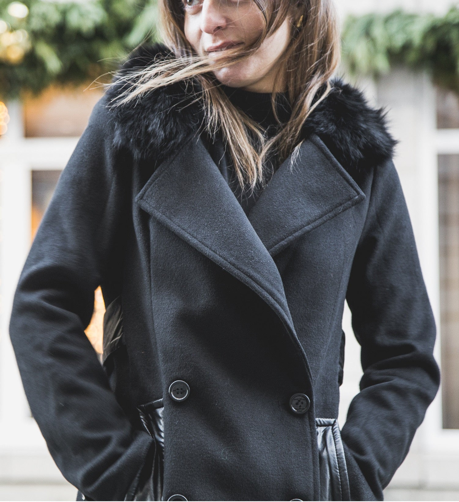 BARBARA Black Faux Wool Coat with Faux Fur Collar - Mademoiselle Veste - 2
