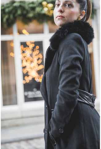 BARBARA Black Faux Wool Coat with Faux Fur Collar - Mademoiselle Veste - 1
