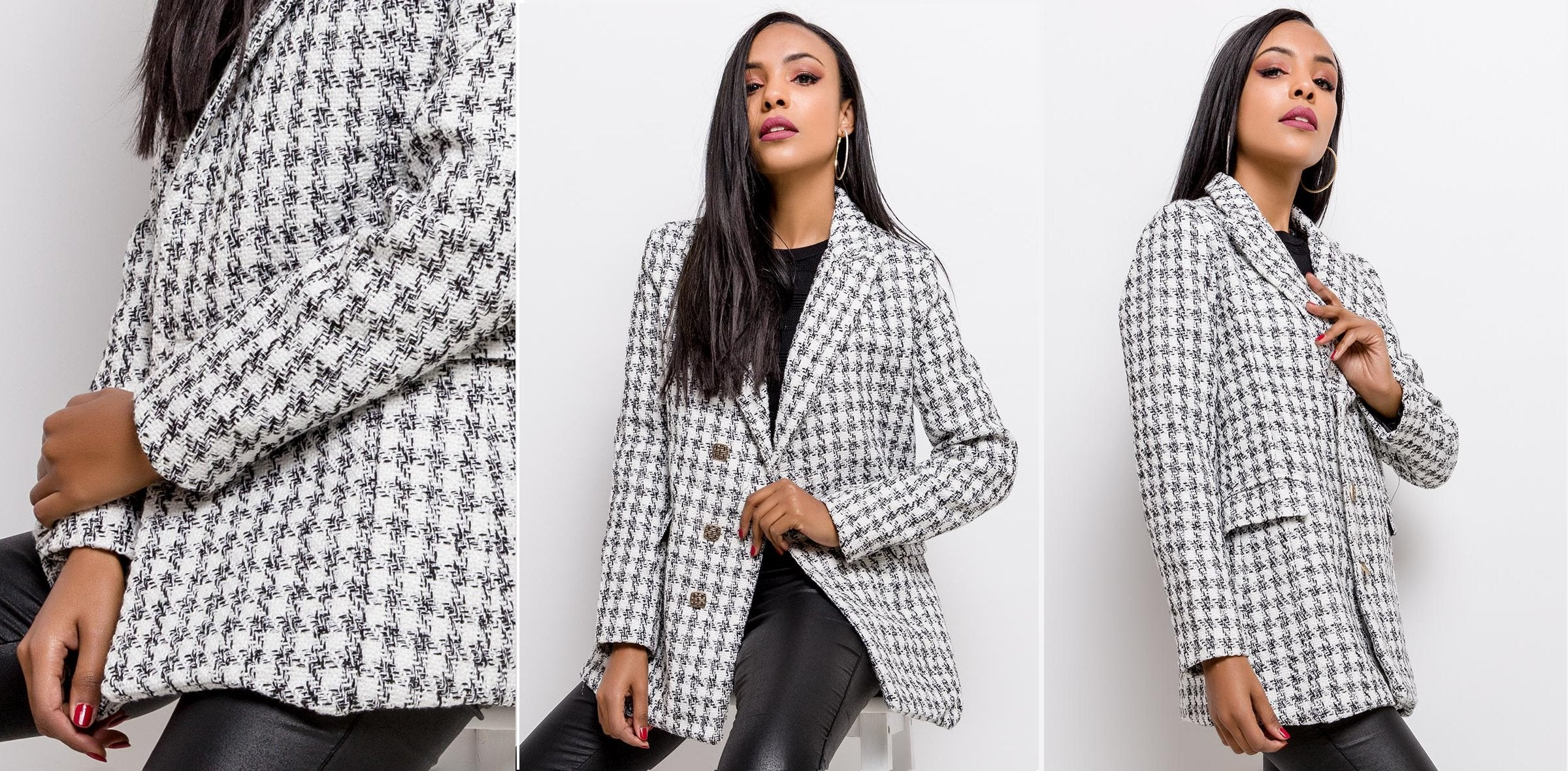 KENIA WHITE DOUBLE BREASTED HOUNDSTOOTH BLAZER