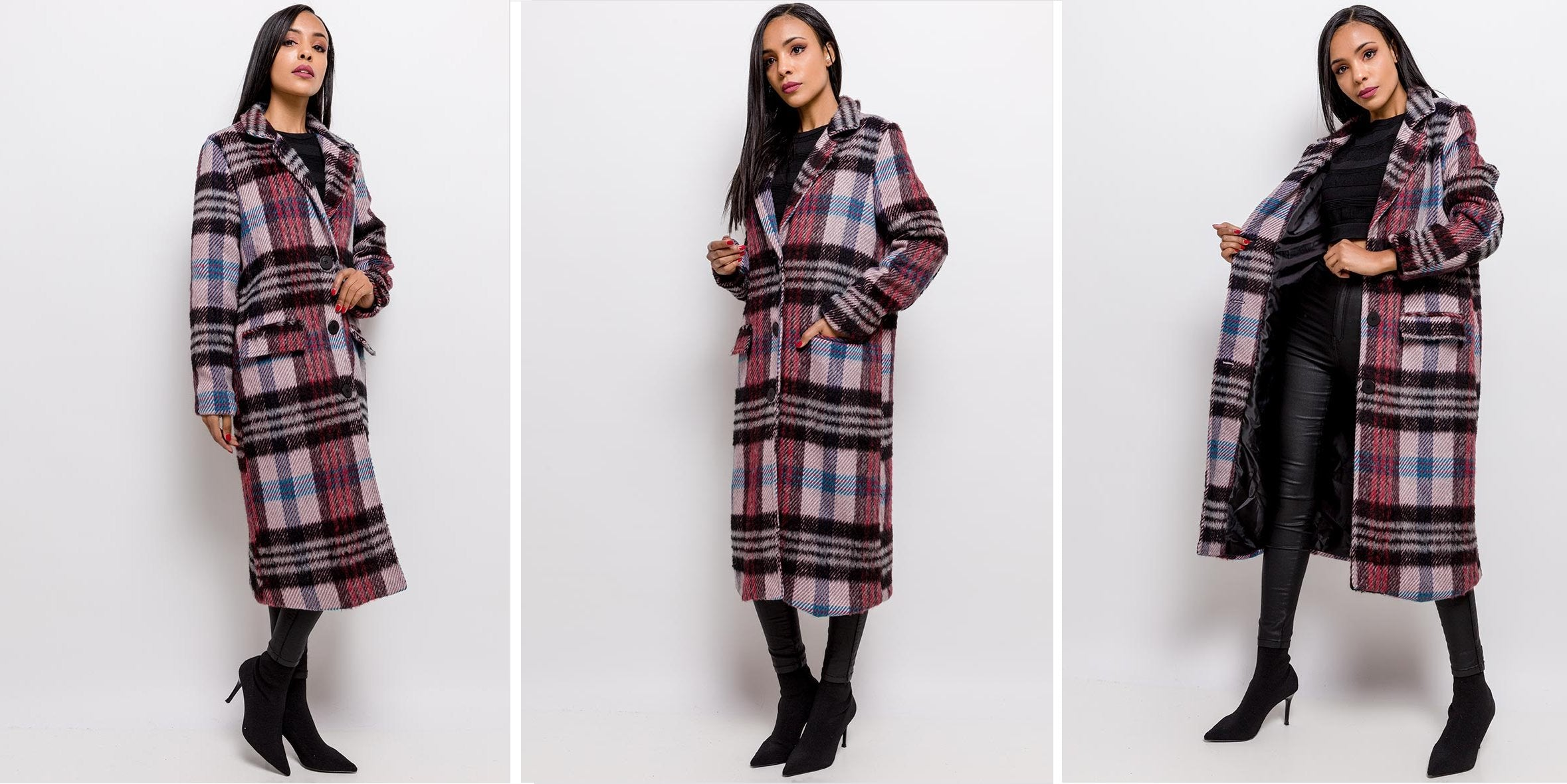 GIULIA LONG STRAIGHT-CUT PLAID COAT