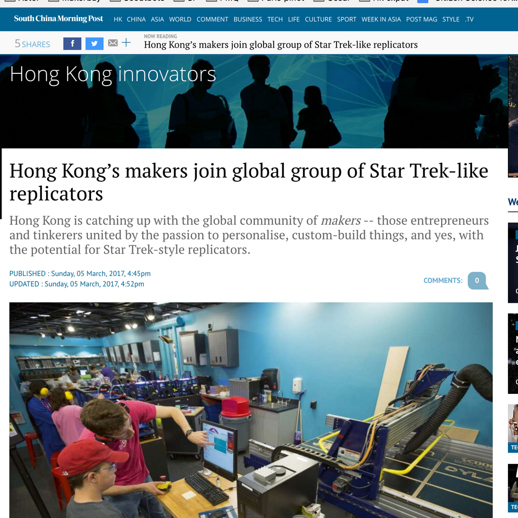 "Press feature: ""Hong Kong's makers join global group of Star Trek-like replicators"""