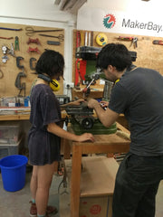 Cesar teaching me on woodwork during induction class [instructor ver.]