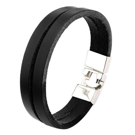 Black Double Strap Leather Polished Latch Bracelet