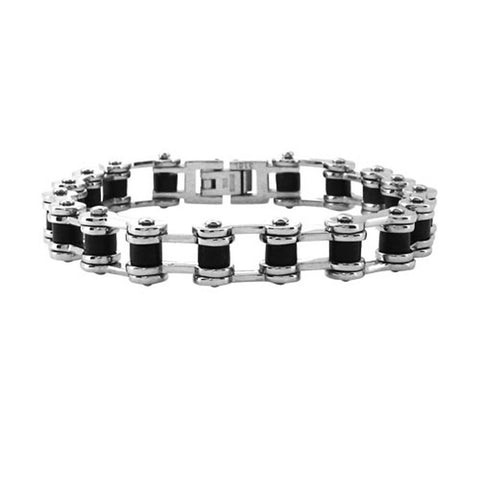 Stainless Steel and Black Rubber Accent Motorcycle Chain Bracelet