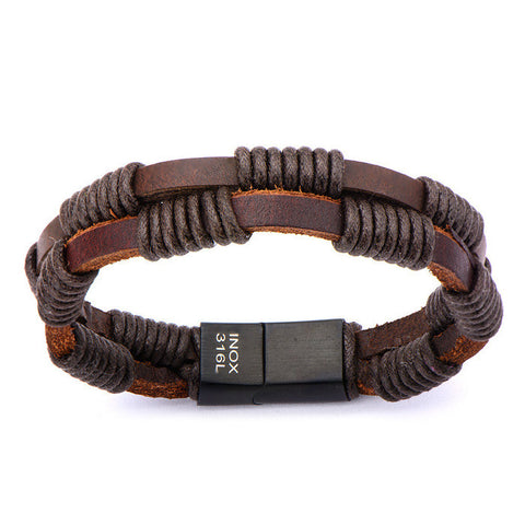 Double Strap Brown Leather Bracelet Wrapped w/ Black Rope