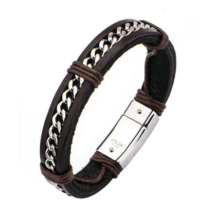 Dark Brown Leather Bracelet w/ Stainless Steel Curb Chain Inlayed