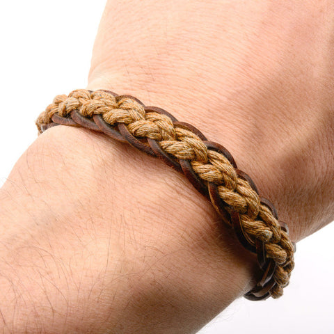 Brown Woven and Threaded Leather Bracelet with Steel Clasp