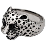 Stainless Steel Black Oxidized Cheetah Head Ring