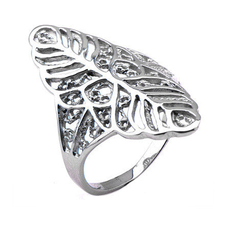 Stainless Steel Cutout Leaf Ring