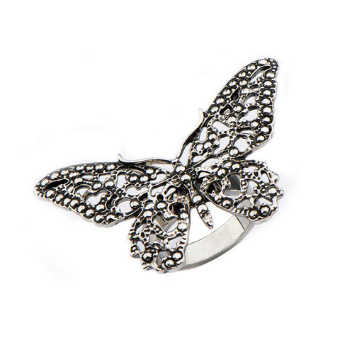 Stainless Steel Oxidized Butterfly Ring