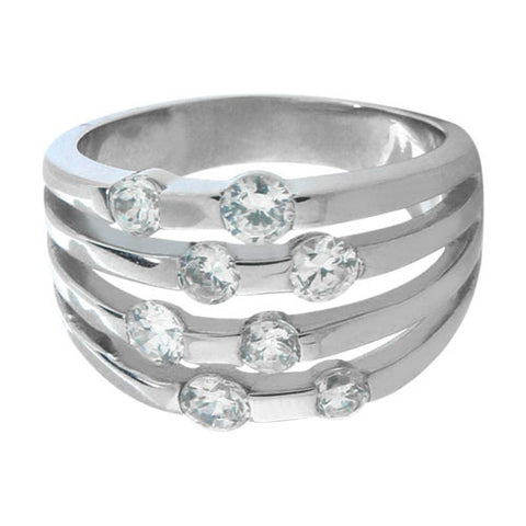 Multi-Layer Stainless Steel Ring w/ CZ Stones