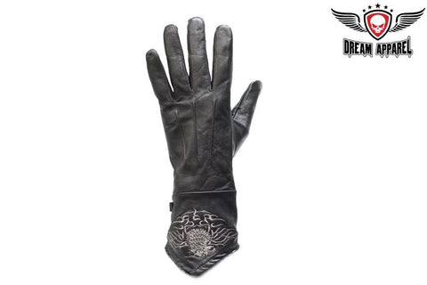 Ladies Motorcycle Gloves W/ Stitched Eagle. Womens