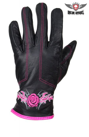 Womens Rose Graphic Embroidered Naked Leather Gloves, PINK OR PURPLE