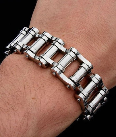 Stainless Steel Long Bar Motorcycle Chain Bracelet
