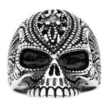 Stainless Steel Black Oxidized Black Gem Sugar Skull Ring
