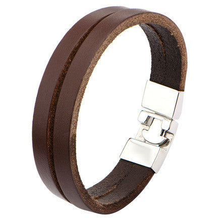 Brown Double Strap Leather & Polished Latch Bracelet