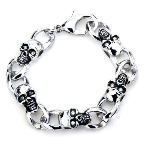 Women's Stainless Steel Skulls with Clear CZ Eyes Link Bracelet