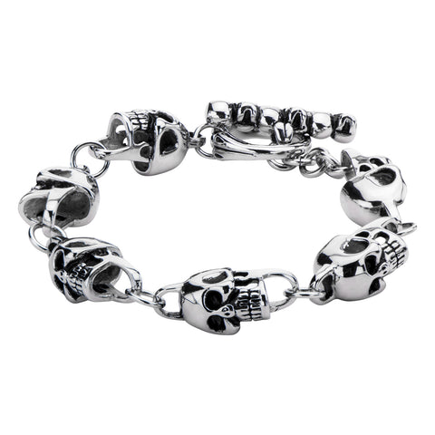 Men's Stainless Steel Black Oxidized Skull Link Toggle Bracelet